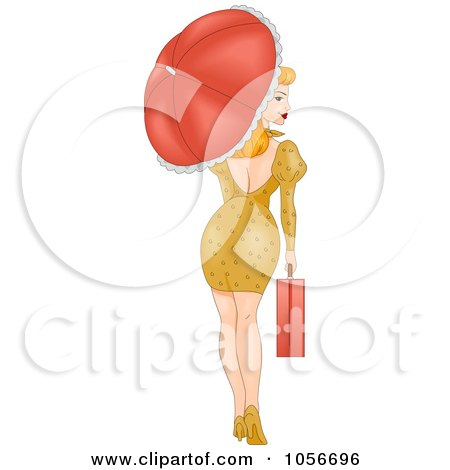 Sexy Retro Pinup Woman Walking With A Briefcase And Parasol, Looking Back Posters, Art Prints