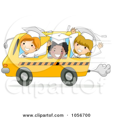 Royalty-Free Vector Clip Art Illustration of Graduate Kids Riding In A Bus by BNP Design Studio