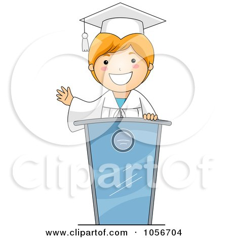 Royalty-Free Vector Clip Art Illustration of a Graduate Boy Giving A Speech by BNP Design Studio