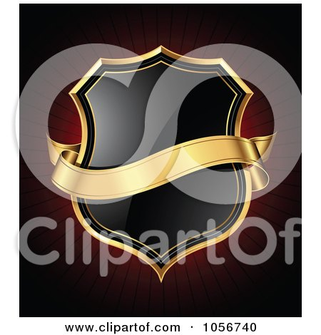 Royalty-Free Vector Clip Art Illustration of a 3d Gold Banner Over A Black Shield On Dark Red by TA Images