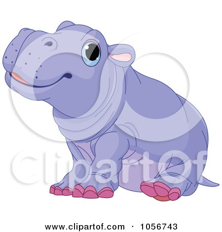 Royalty-Free Vector Clip Art Illustration of a Cute Baby Male Hippo by Pushkin