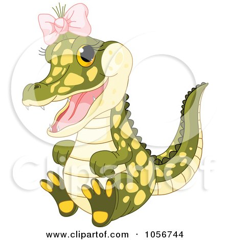 Royalty-Free Vector Clip Art Illustration of a Cute Baby Female Alligator Wearing A Pink Bow by Pushkin