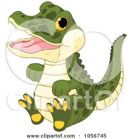 Royalty-Free Vector Clip Art Illustration of a Cute Baby Male Alligator by Pushkin