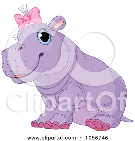 Royalty-Free Vector Clip Art Illustration of a Cute Baby Female Hippo Wearing A Pink Bow by Pushkin