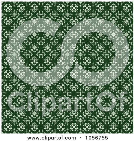 Royalty-Free Vector Clip Art Illustration of a Green And White Seamless Clover Background Pattern by BestVector