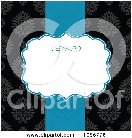 Royalty-Free Vector Clip Art Illustration of a Blue Ribbon And White Text Space Over A Black Victorian Patterned Invitation Or Background by BestVector