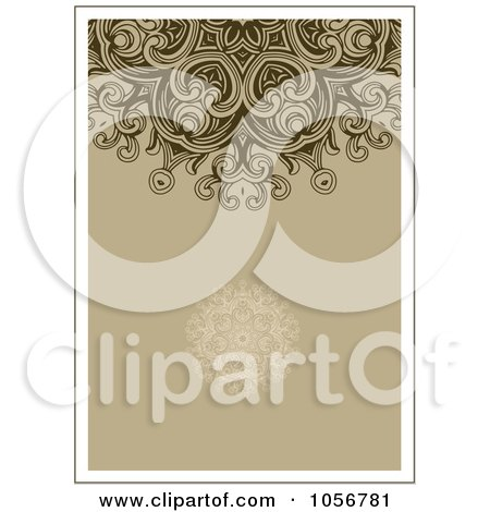 Royalty-Free Vector Clip Art Illustration of a Brown Ornamental Invitation Or Background by BestVector