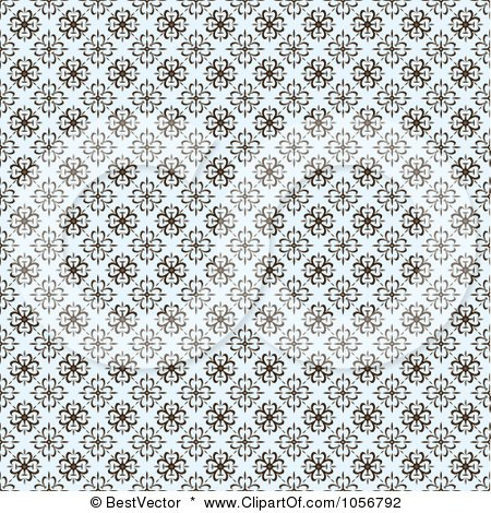 Royalty-Free Vector Clip Art Illustration of a Brown And Pastel Blue Seamless Clover Background Pattern by BestVector