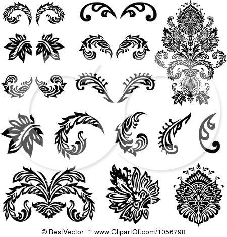 Royalty-Free Vector Clip Art Illustration of a Digital Collage Of Black And White Victorian Floral Design Elements by BestVector