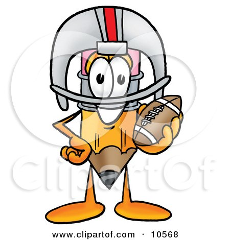 Clipart Picture of a Pencil Mascot Cartoon Character in a Helmet, Holding a Football by Toons4Biz
