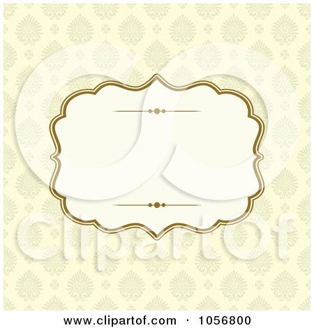 Royalty-Free Vector Clip Art Illustration of a Beige Victorian Patterned Invitation Or Background With Copyspace by BestVector