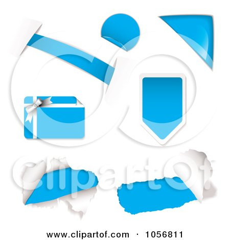 Royalty-Free Vector Clip Art Illustration of a Digital Collage Of Light Blue Design Elements by michaeltravers