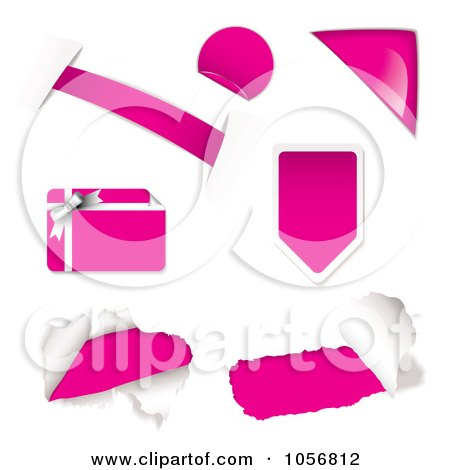 Royalty-Free Vector Clip Art Illustration of a Digital Collage Of Pink Design Elements by michaeltravers