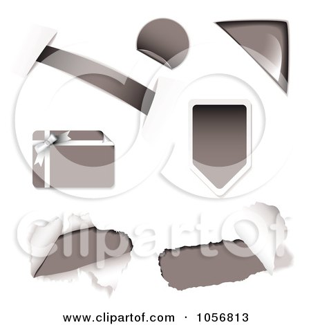 Royalty-Free Vector Clip Art Illustration of a Digital Collage Of Gray Design Elements by michaeltravers