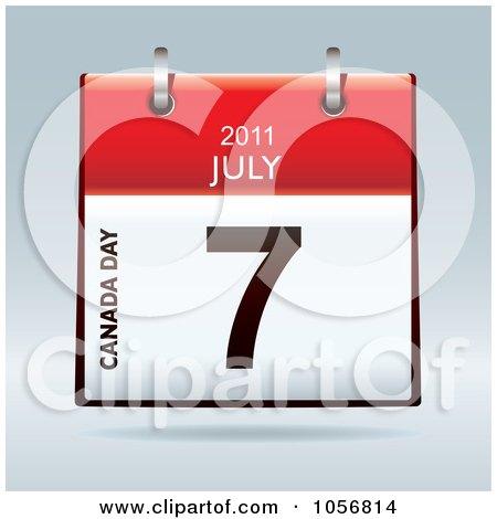Royalty-Free Vector Clip Art Illustration of a 3d Canada Day July 7 2011 Flip Desk Calendar by michaeltravers