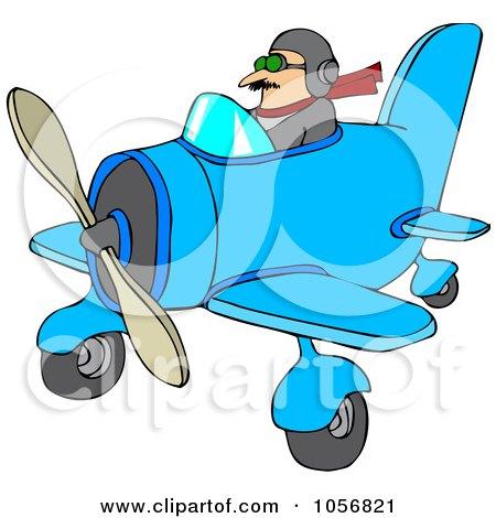 Royalty-Free Vector Clip Art Illustration of a Pilot Flying A Little Plane by djart