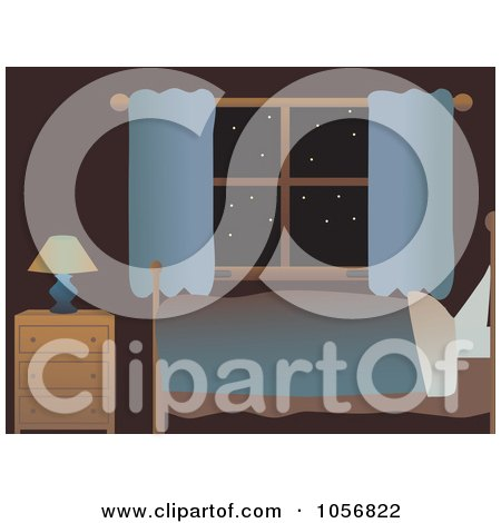 Royalty-Free Vector Clip Art Illustration of a Bed And Night Stand By A Window With Stars by mheld