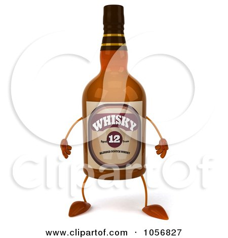 Royalty-Free CGI Clip Art Illustration of a 3d Whisky Bottle Character by Julos