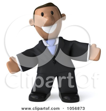 Royalty-Free CGI Clip Art Illustration of a 3d Indian Businessman Facing Front With Open Arms by Julos