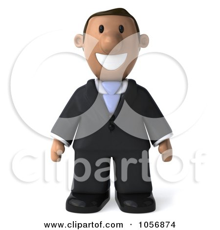Royalty-Free CGI Clip Art Illustration of a 3d Indian Businessman Facing Front by Julos