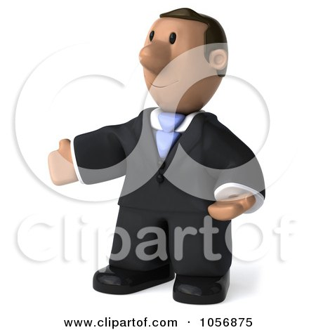 Royalty-Free CGI Clip Art Illustration of a 3d Indian Businessman Facing Left With Open Arms by Julos