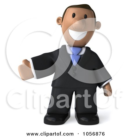 Royalty-Free CGI Clip Art Illustration of a 3d Indian Businessman Presenting by Julos