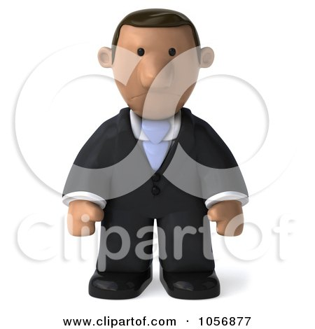 Royalty-Free CGI Clip Art Illustration of a 3d Indian Businessman Facing Front And Pouting by Julos