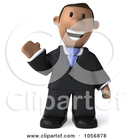 Royalty-Free CGI Clip Art Illustration of a 3d Indian Businessman Waving by Julos