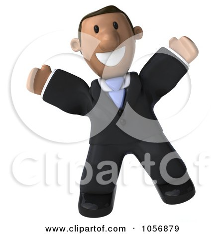 Royalty-Free CGI Clip Art Illustration of a 3d Indian Businessman Facing Front And Jumping by Julos