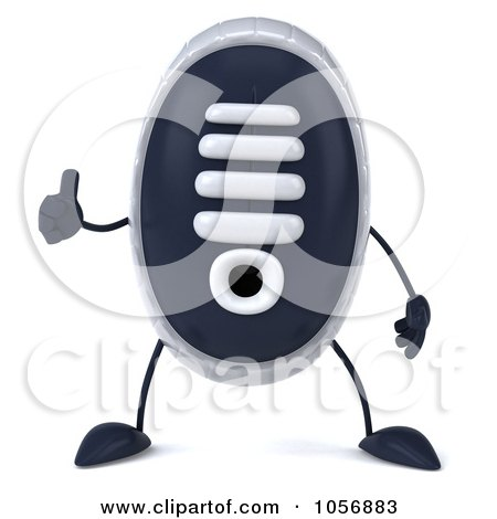 Royalty-Free CGI Clip Art Illustration of a 3d Sneaker Shoe Character Facing Front And Holding A Thumb Up by Julos