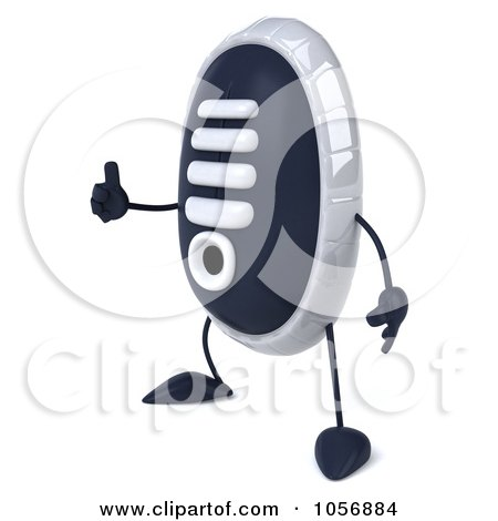 Royalty-Free CGI Clip Art Illustration of a 3d Sneaker Shoe Character Facing Left And Holding A Thumb Up by Julos
