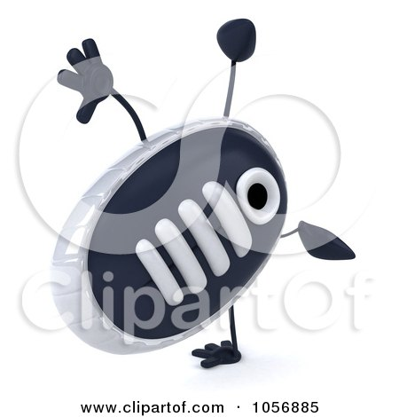 Royalty-Free CGI Clip Art Illustration of a 3d Sneaker Shoe Character Doing A Cartwheel by Julos
