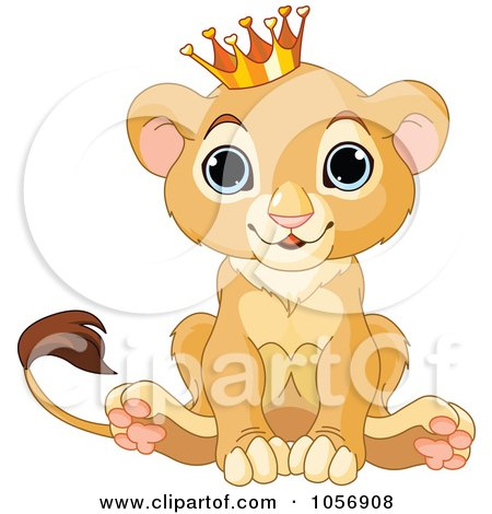 Royalty-Free Vector Clip Art Illustration of a Cute Baby Boy Lion Wearing A Crown by Pushkin