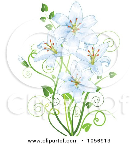Royalty-Free Vector Clip Art Illustration of Pale Blue Lilies by Pushkin