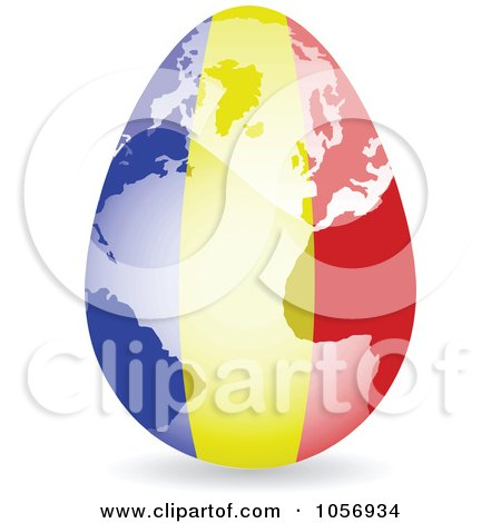 Royalty-Free Vector Clip Art Illustration of a 3d Romanian Flag Egg Globe With A Shadow by Andrei Marincas