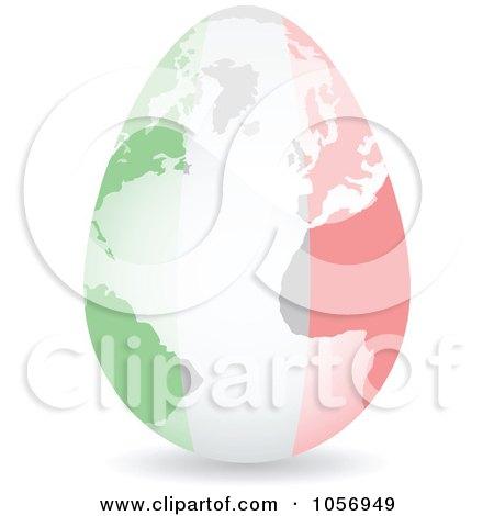 Royalty-Free Vector Clip Art Illustration of a 3d Italian Flag Egg Globe With A Shadow by Andrei Marincas