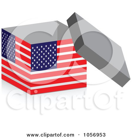 Royalty-Free Vector Clip Art Illustration of a 3d Open American Flag Box With A Shadow by Andrei Marincas