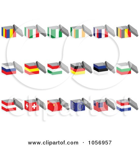 Royalty-Free Vector Clip Art Illustration of a Digital Collage Of 3d Open Nigerian Flag Boxes by Andrei Marincas