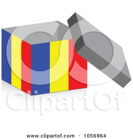 Royalty-Free Vector Clip Art Illustration of a 3d Open Romanian Flag Box With A Shadow by Andrei Marincas