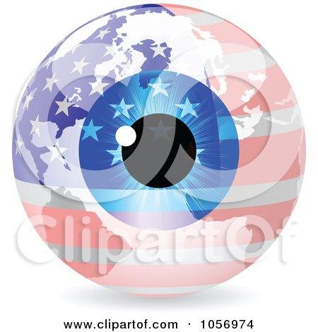Royalty-Free Vector Clip Art Illustration of a 3d American Eye World Globe by Andrei Marincas