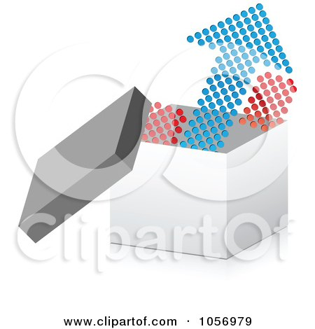 Royalty-Free Vector Clip Art Illustration of a Dot Arrow Pointing Up From A 3d Box by Andrei Marincas
