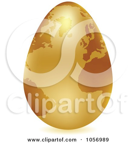 Royalty-Free Vector Clip Art Illustration of a 3d Gold Egg Globe With A Shadow by Andrei Marincas