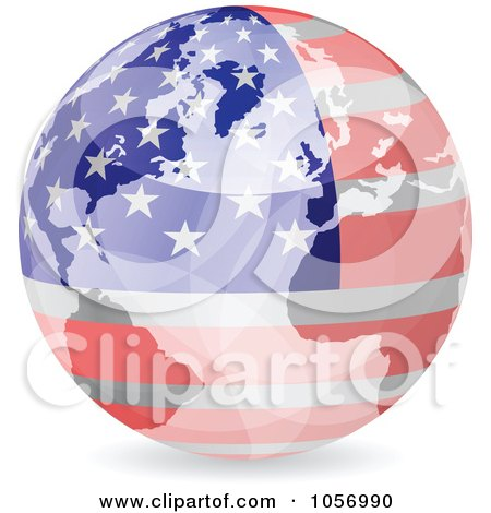Royalty-Free Vector Clip Art Illustration of a 3d American World Globe by Andrei Marincas