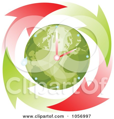 Royalty-Free Vector Clip Art Illustration of a Red And Green Arrows Circling An Eco Globe World Clock by Andrei Marincas