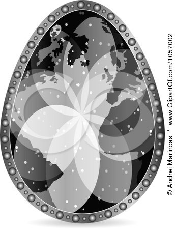 Royalty-Free Vector Clip Art Illustration of a Grayscale World Map Easter Egg by Andrei Marincas