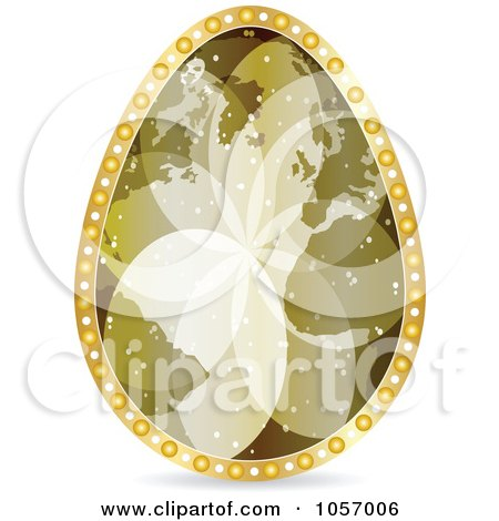 Royalty-Free Vector Clip Art Illustration of a Golden World Map Easter Egg by Andrei Marincas