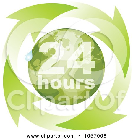 Royalty-Free Vector Clip Art Illustration of a Green 24 Hours Globe With A Droplet And Arrows by Andrei Marincas