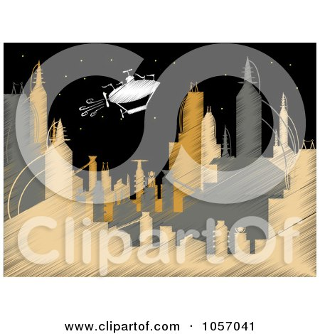 Royalty-Free Vector Clip Art Illustration of a Scribbled Airship Over A Futuristic City At Night by mheld