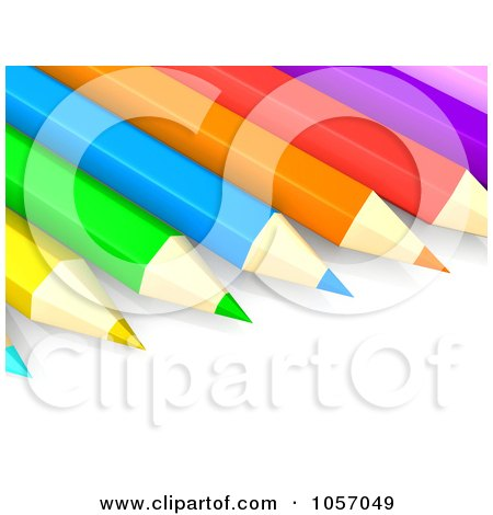 Royalty-Free CGI Clip Art Illustration of a 3d Row Of Colored Pencils by 3poD