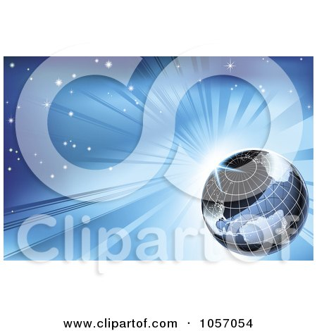 Royalty-Free Vector Clip Art Illustration of a Grid Globe Against a Blue Sunburst Sky by AtStockIllustration